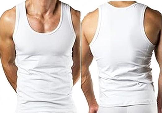 3eaf71caeb174 Megastore 247 Mens Tank Top Vest Sleeveless Gym Top 100% Cotton White S Pack