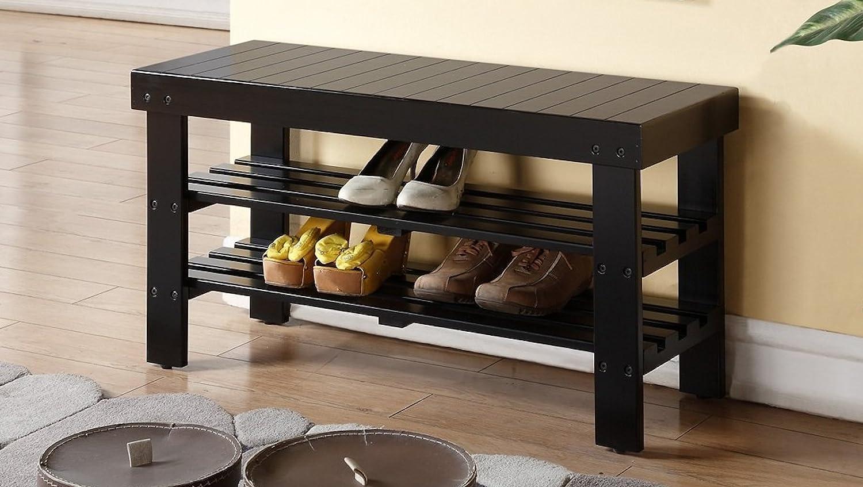 Legacy Decor Wooden Shoe Bench Walnut Color 3008 WA