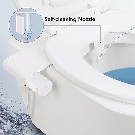 Abattant WC sans /Électricit/é Bidet Nettoyeur De Toilettes Nozzle Pression deau Ajustable pour Pratique Pulv/érisateur deau Ass Wash,Hygi/ène Intime