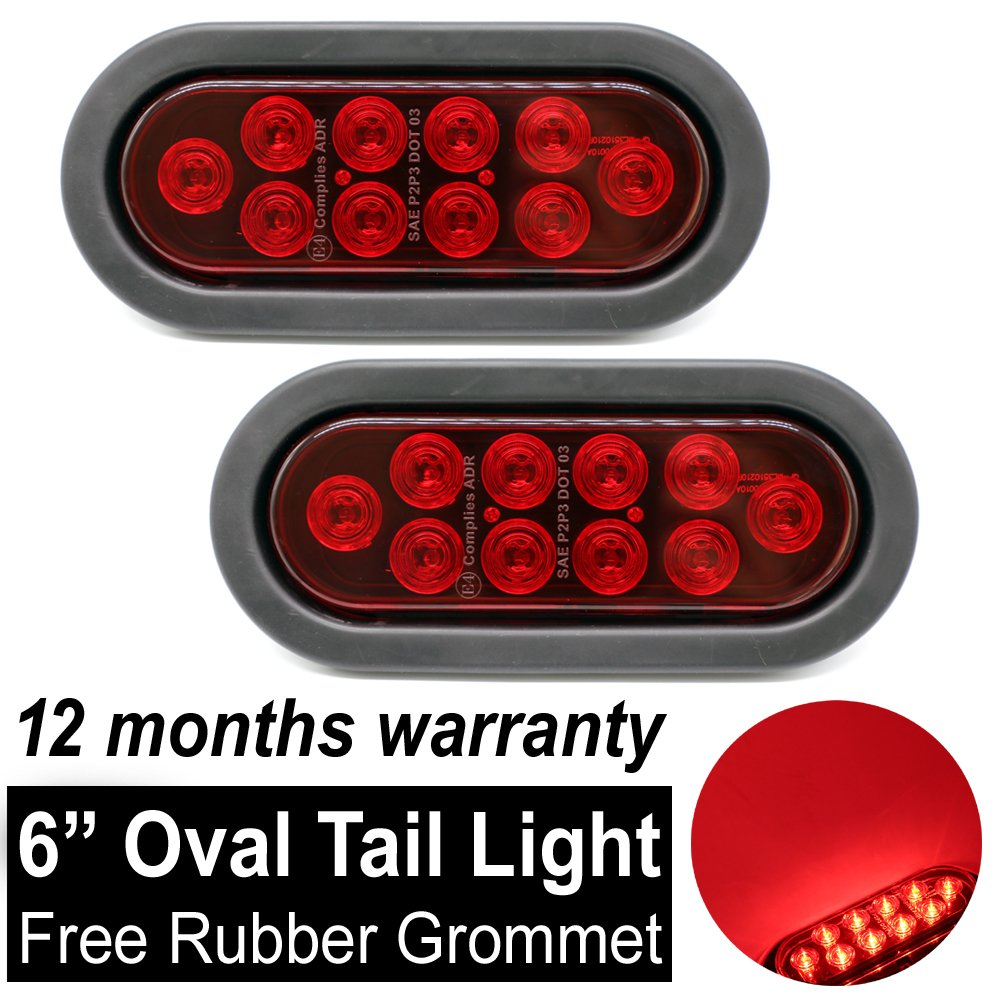 6 10 LED Smoked Lens Oval Flush Mount Amber Stop Turn Signal Brake Marker Tail LED Light for Truck Trailer RV Bus 12V Rubber Grommet /& Plug Included TMH Pack of 2
