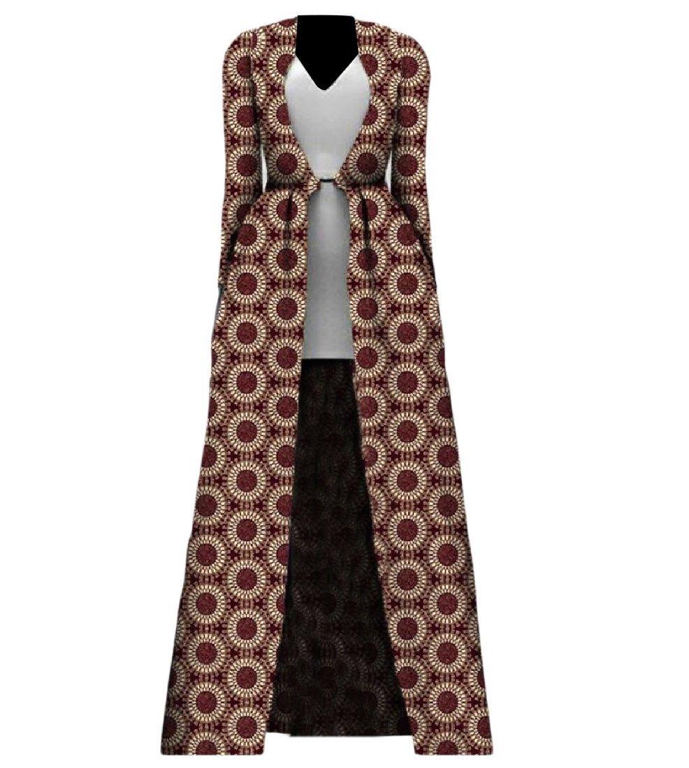 Abetteric Womens Plus Size African Print Cardigan Longline Fashion Trench Coat 5 XL