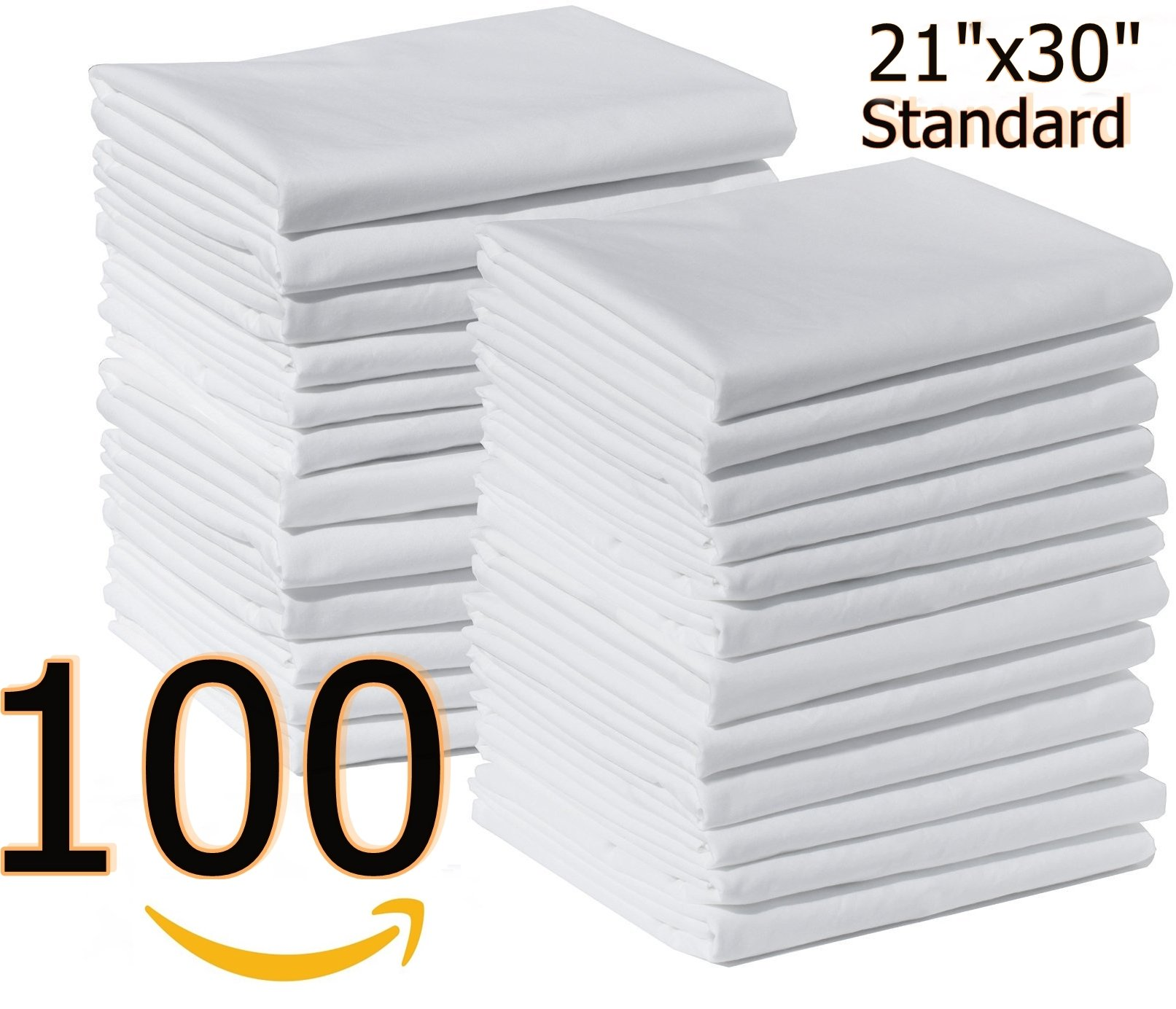 Bulk Pack of 100 Polycotton Standard Size Pillowcase White T-200,42''x36'' (Fits 21'' X30'' pillow) Perfect for Physical Therapy Clinics, Hotels, Camps (100, Standard)