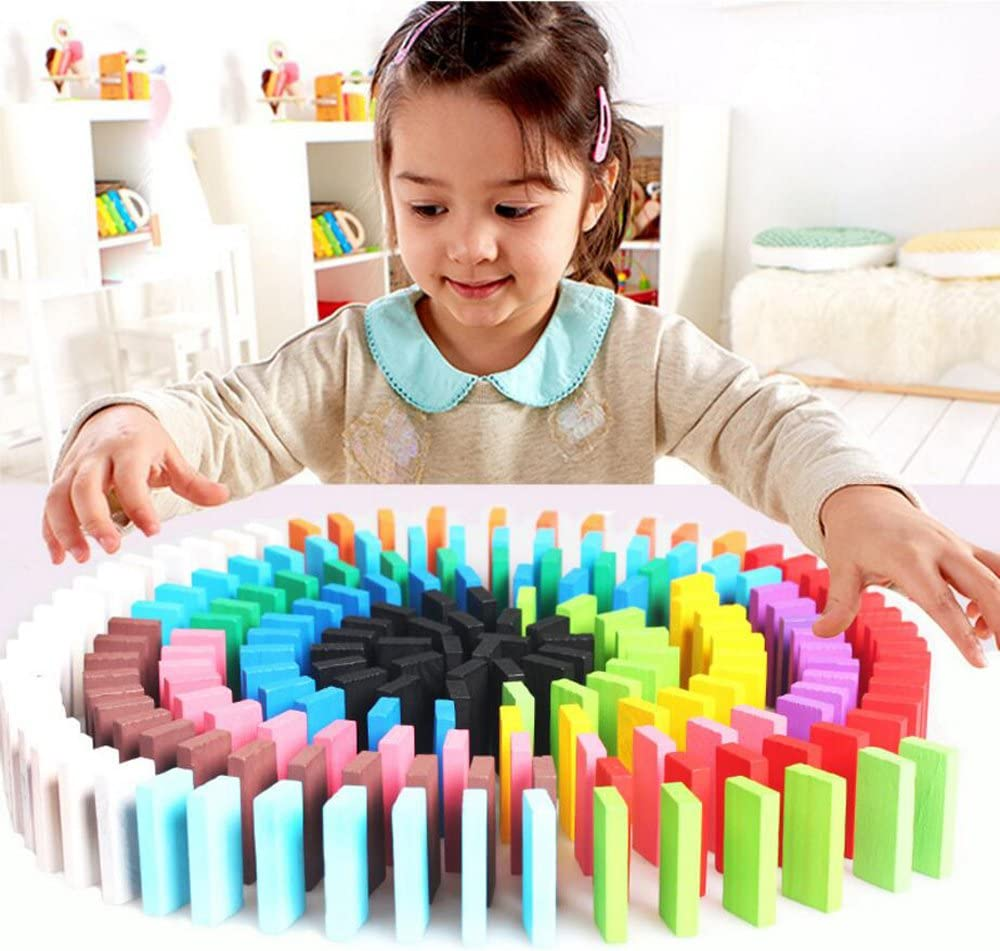 Kids Game Educational Play Toy Newcreativetop Wooden Dominos Blocks Set Domino Racing Toy Game 240PCS