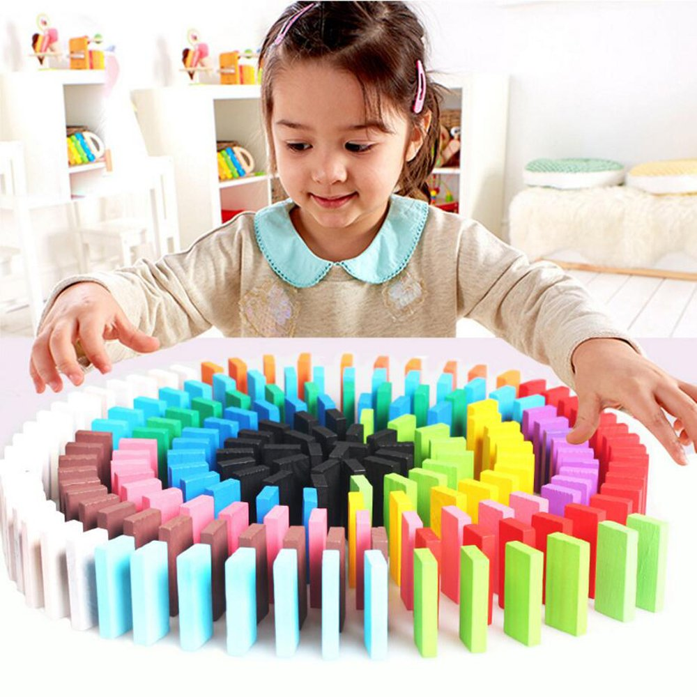 Domino Racing Toy Game NCT-TOY-001 120PCS Newcreativetop 120pcs Wooden Dominos Blocks Set Kids Game Educational Play Toy