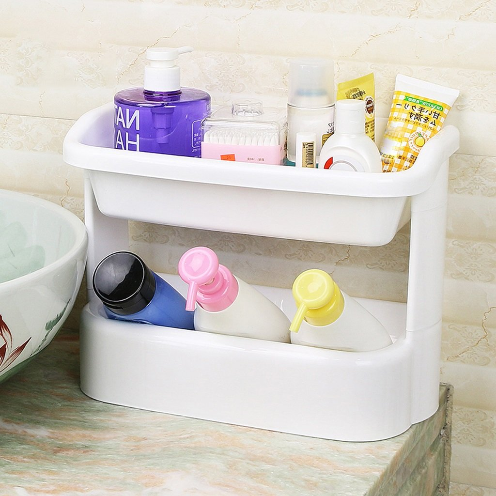 Bathroom Shelf Free Punch Slanting Kitchen Shelf Hanging Wall Shelf (White) ( Size : 2 layer ) by LITINGMEI Shelf