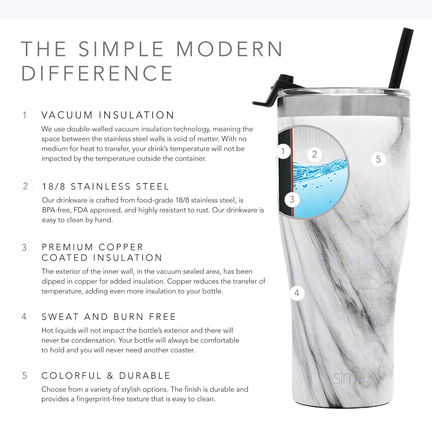 e770b1e68e Simple Modern 22oz Cruiser Tumbler with Straw & Closing Lid Travel Mug -  Gift Double Wall Vacuum Insulated - 18/8 Stainless Steel Water Bottle  Pattern: ...