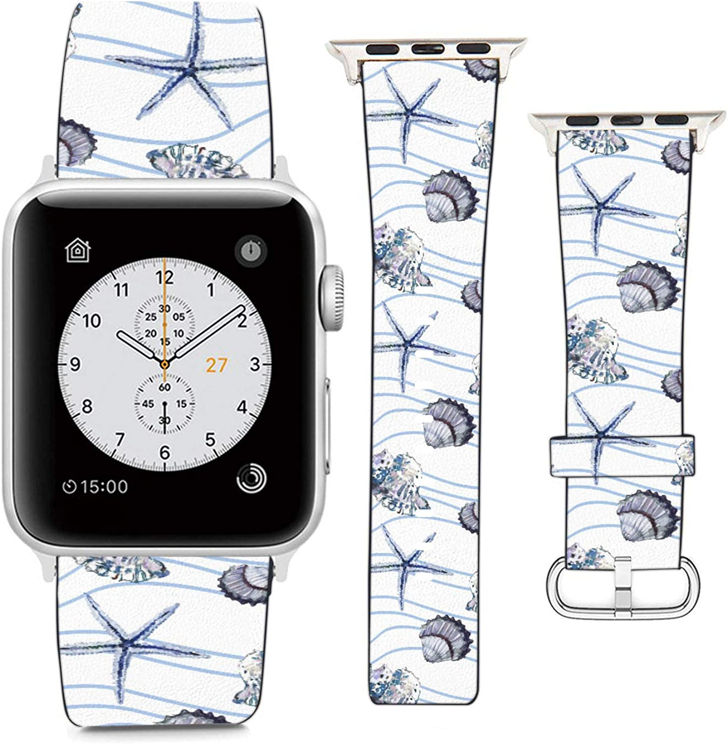 Compatible with Apple Watch Wristband 38mm 40mm, (Seashell and Starfish Pattern) PU Leather Band Replacement Strap for iWatch Series 5 4 3 2 1