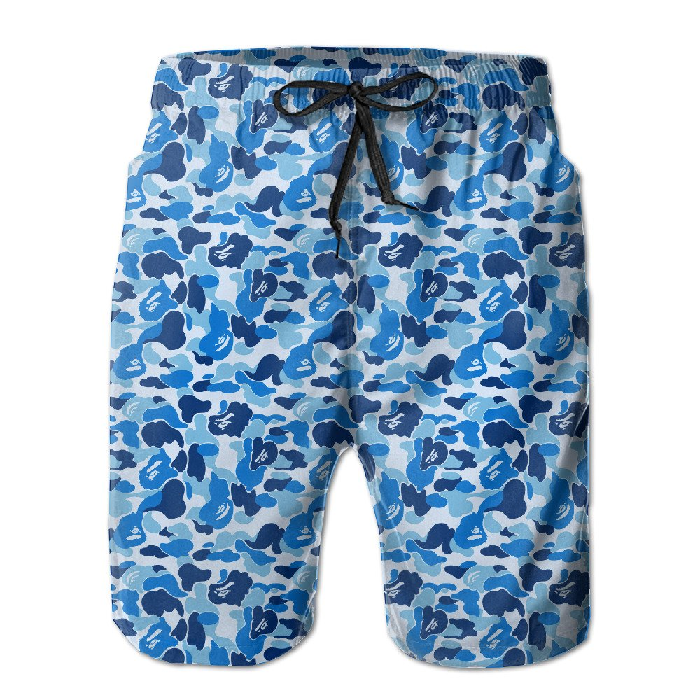 QR FUNK Men's Bape Blue Camo Quickly Dry Beach Shorts Swim Holiday Trunks