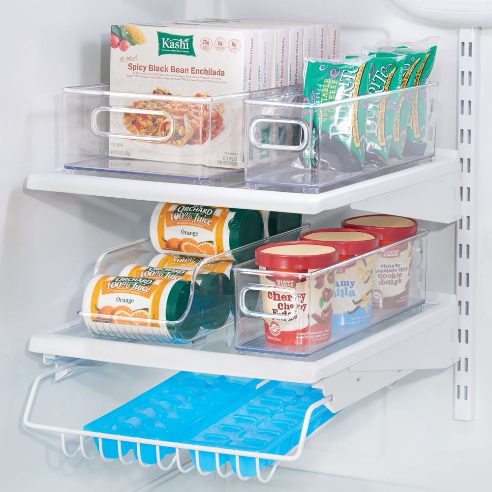 mDesign Juego de 4 cajas organizadoras para la cocina - Prácticos organizadores de frigorífico para alimentos frescos, conservas o latas de bebidas ...