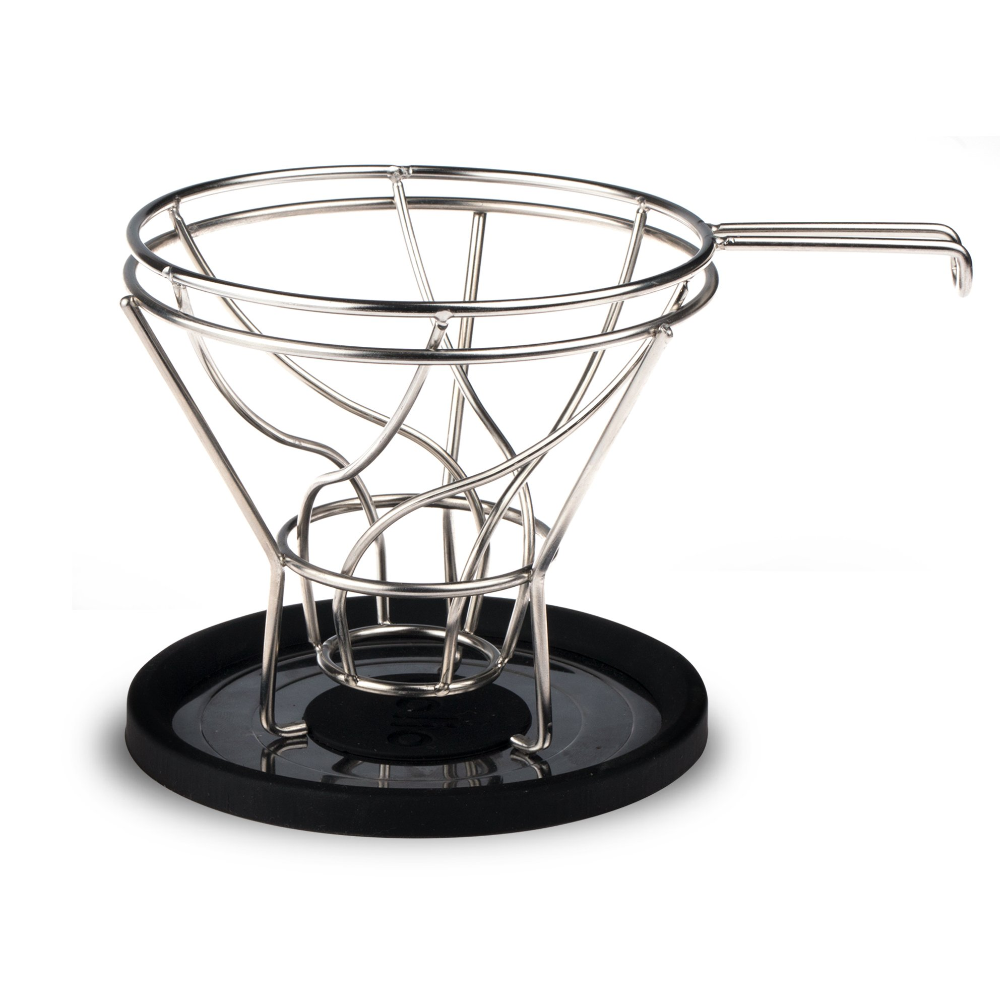 Pour Over Stainless Steel Coffee Cone Shaped Basket Filter Dripper and Cradle Stand used with Popular V60 Filters like Melitta, Cuisinart, Hario, Chemex – Maximum Flavor Extraction by Bolio (Vortex 2) by Bolio