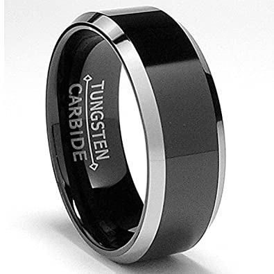 Metal Masters Co 8mm Flat Top Two Tone Black Tungsten Ring Wedding