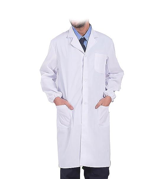 WDF Bata de Laboratorio médicos Bata Uniforme de Trabajo Enfermera Blanco Hombres Manga Larga Largo párrafo elástico Esposas: Amazon.es: Ropa y accesorios
