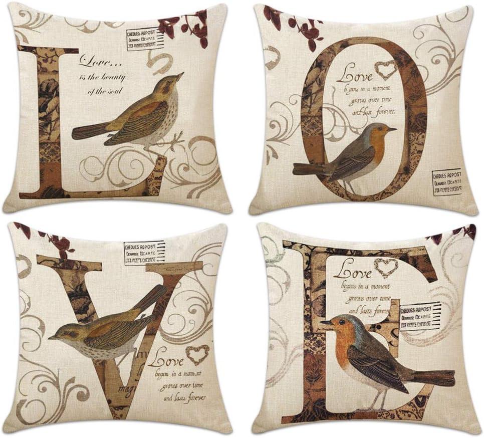 cojin love con pájaros