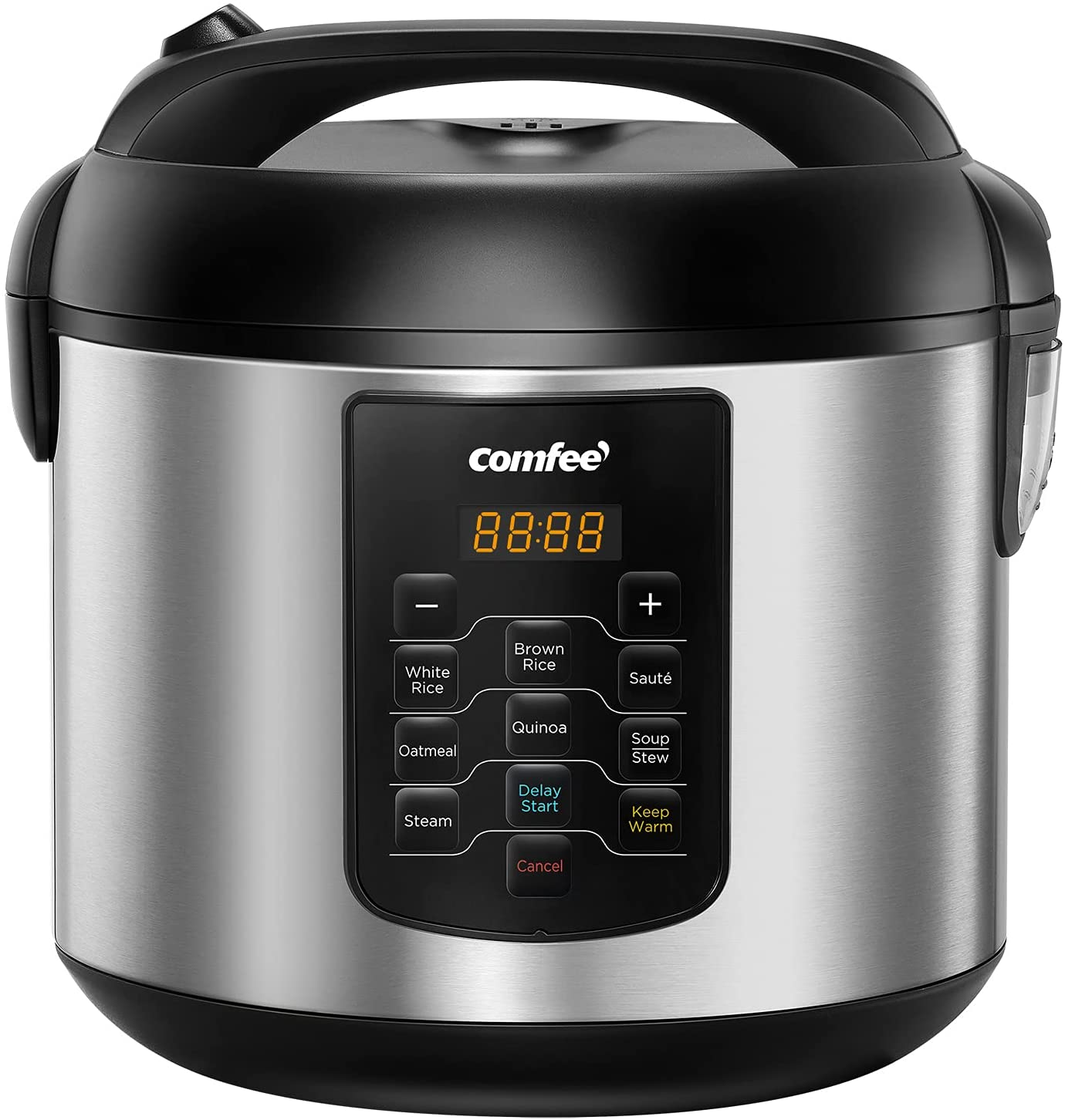 COMFEE' Rice Cooker, 8-in-1 Stainless Steel Multi Cooker, Slow Cooker, Steamer, Saute, and Warmer, 5.2 QT, 20 Cups Cooked, Brown Rice, Quinoa and Oatmeal, 8 One-Touch Programs