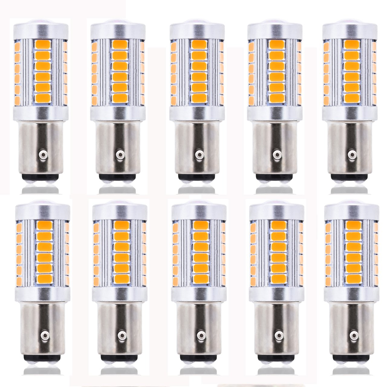 KATUR 4 x Amber 1157 S25 BAY15D 1210 54-SMD LED Car Lights Bulb Backup Signal Blinker Tail Light Bulbs 12V Replacement 1016 1034 2057 7528 1157A 1178A LED Light