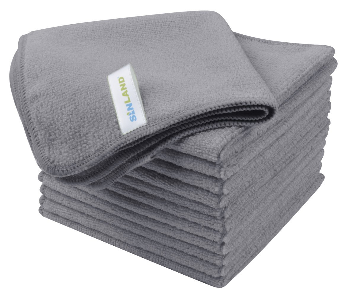 CDM product Sinland Microfiber Best Green Cleaning Cloth Multipurpose Janitorial Supplies 12Inchx12Inch 12 Pack Grey big image