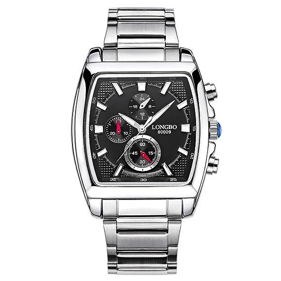 Longbo Vintage Forma Cuadrada Dial cuarzo reloj de acero inoxidable P Military hombre resistente al agua relojes Retro luminoso para hombre reloj de pulsera ...