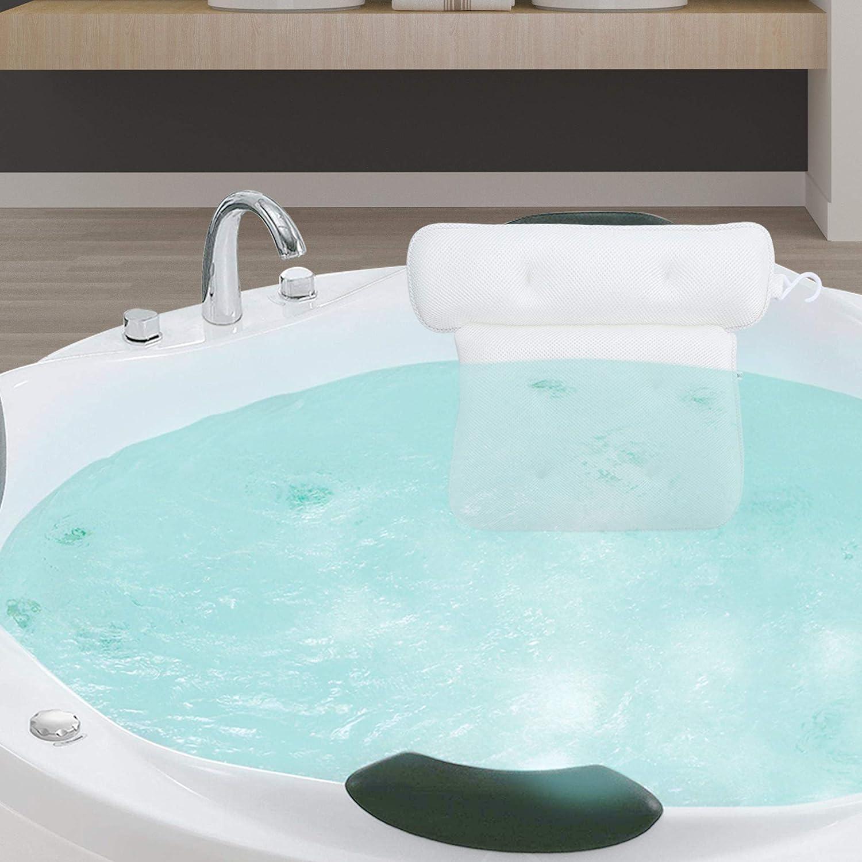 Cuscino Poggiatesta Vasca Intirilife Cuscino Da Bagno In Bianco Tessuto Idrorepellente Di Forma Ergonomica E Con Robusti Bottoni Di Aspirazione Per Il Miglior Comfort Cuscino Da Collo Per Spa Accessori Per Il