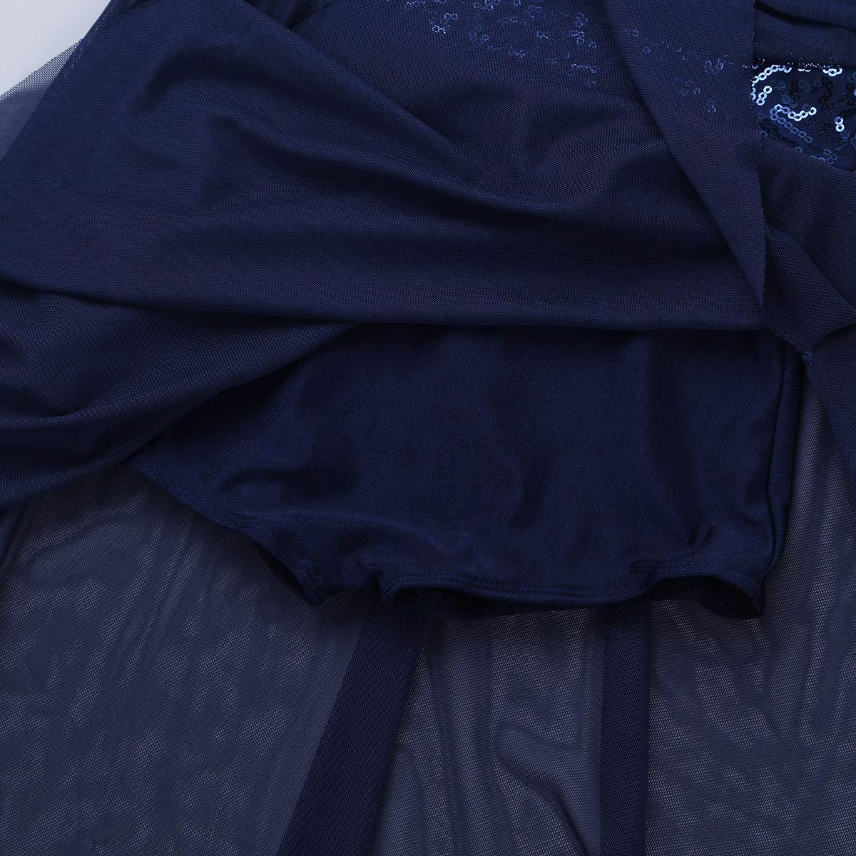 ranrann Kids Girls Spaghetti Straps V-Neck High Low Hem Sequins Dress for Latin Jazz Lyrical Dance