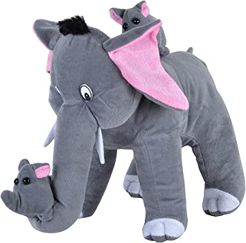 Deals India Mother Elephant with 2 Babies Soft Toy, Multi Color