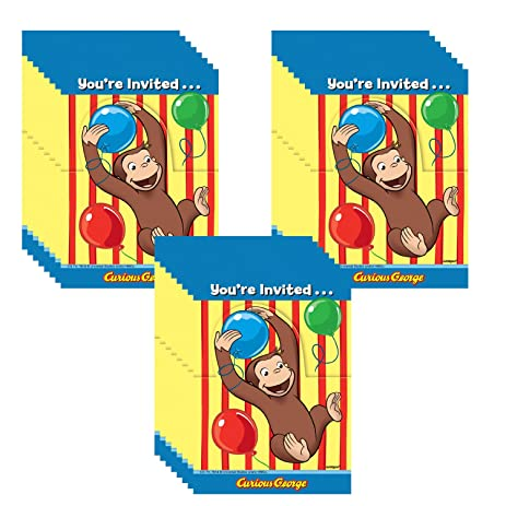 Amazoncom Curious George Party Invitations 24 Guests Toys Games
