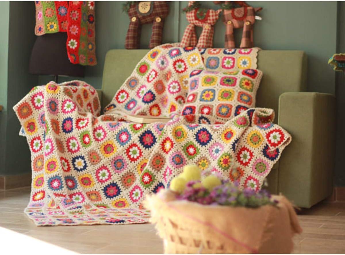 MIGUOR manta de ganchillo hecha a mano estilo campestre