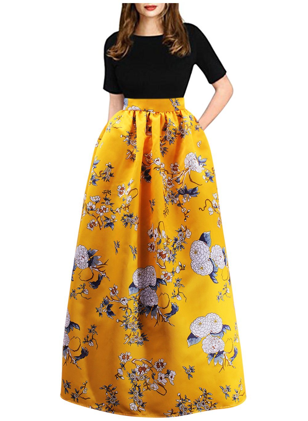 Aibearty Women Fashionable Elastic Floral Print High Waist Long Maxi Skirts Yellow 2XL