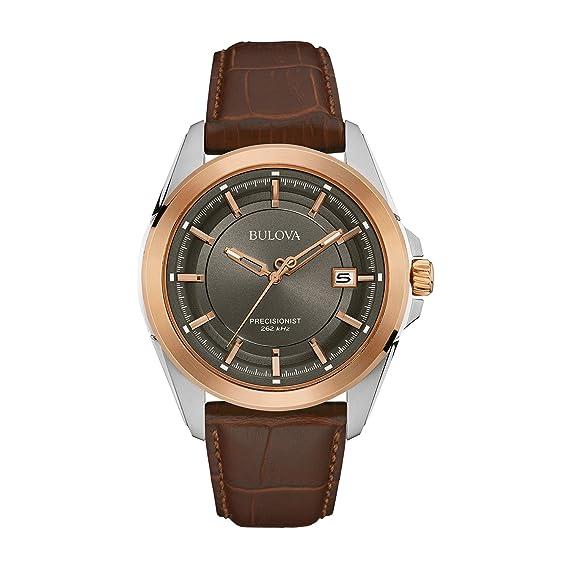 Bulova Precisionist 98B267 - Reloj de Pulsera de diseño para Hombre - Correa de Cuero - Color Oro Rosa: Amazon.es: Relojes