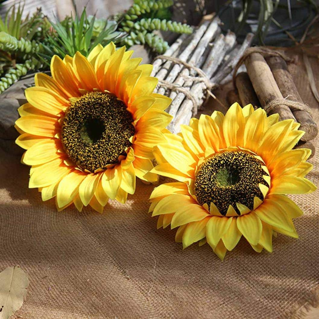 Makaor Sunflower,Fake Silk Artificial Sunflower Flower Heads Bouquet Floral Garden Home Decor (Diameter: 13cm, Yellow)