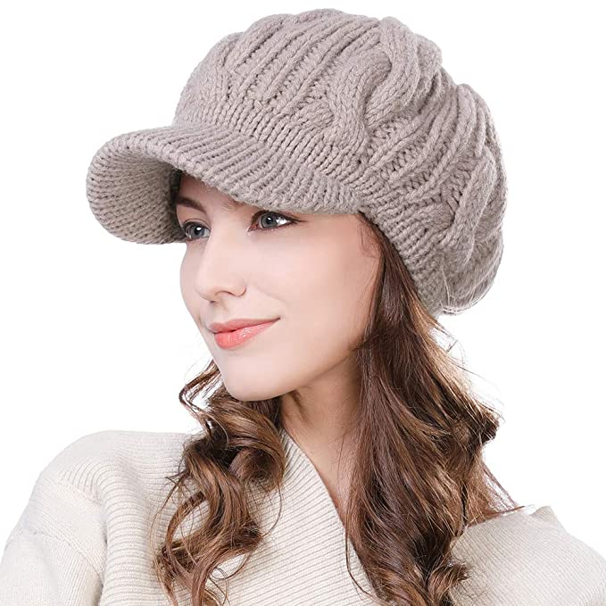 02c4bfcd9a4 Amazon.com  Fancet Womens 100% Merino Wool Knit Visor Beanie Newsboy Cap  Winter Warm Hat Cold Snow Weather Girl Beige  Clothing
