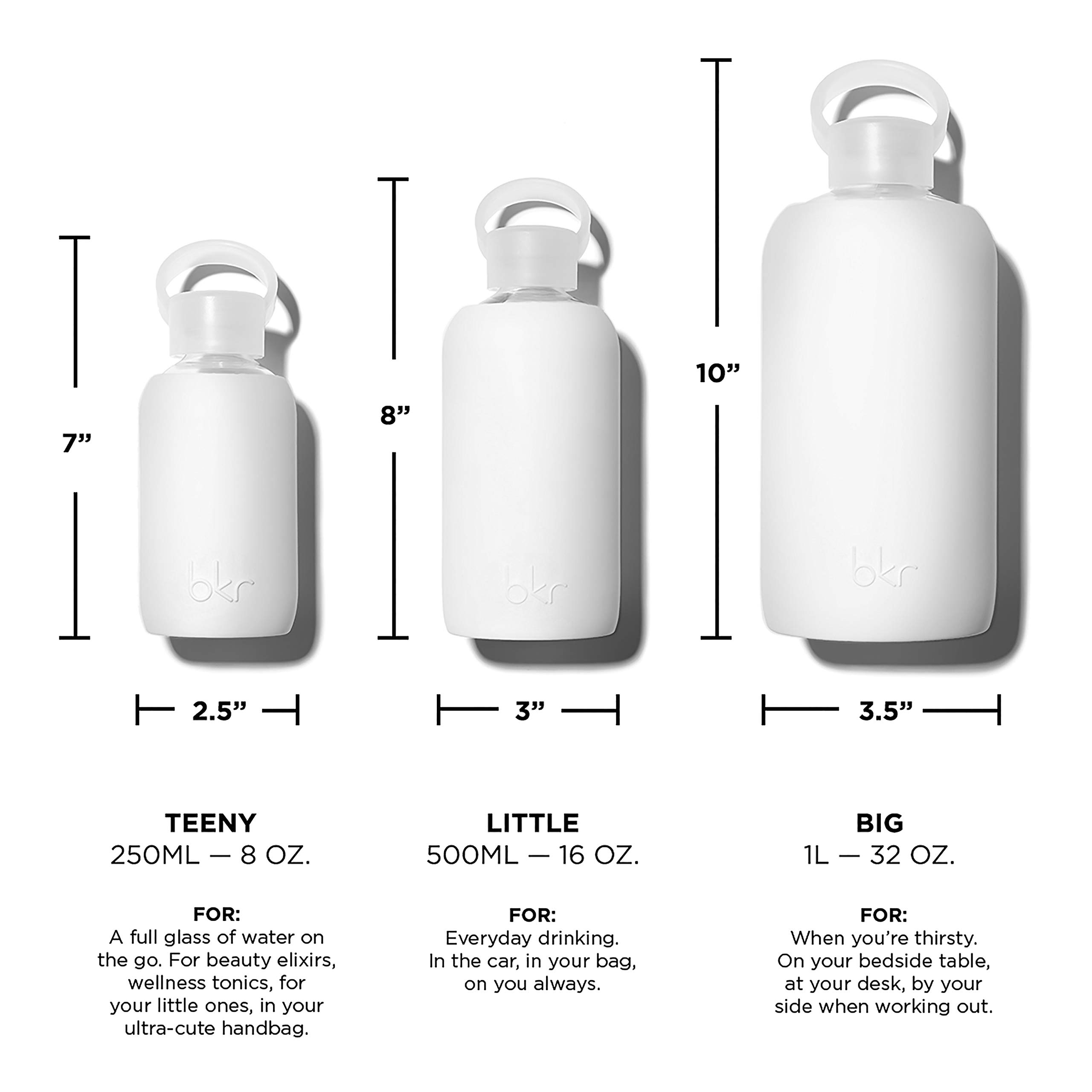 bkr Winter Glass Water Bottle with Smooth Silicone Sleeve for travel, Narrow Mouth, BPA-Free & Dishwasher Safe, Opaque White, 8 oz / 250 mL by bkr (Image #7)