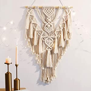 ANROYE Macrame Boho Wall Hanging Decor, Geometric Woven Tapestry Chic Cotton Handmade Bohemian Art with Long Tassel, Large Craft Ornament for Dorm Home Bedroom Apartment Room Decoration