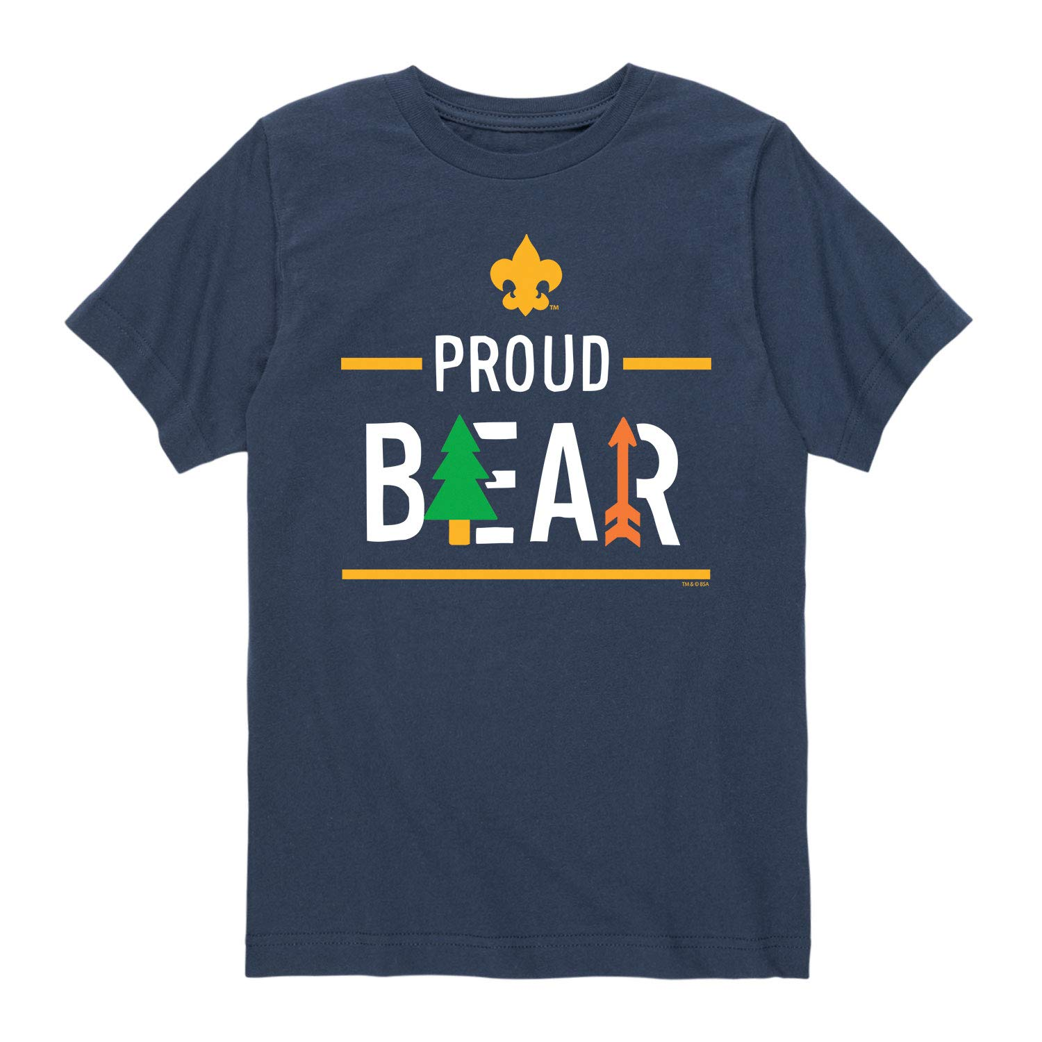Boy Scouts of America Icon Bear Cub Scout - Youth Short Sleeve Tee Navy by Instant Message