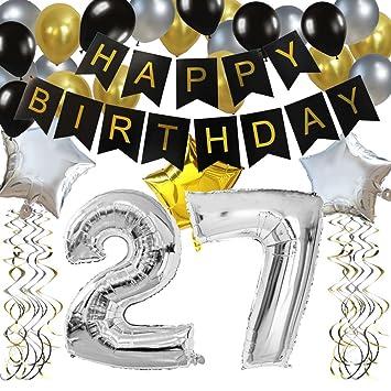 """KUNGYO Clásico Decoración de Cumpleaños -""""Happy Birthday"""" Bandera Negro;Número 27 Globo;Balloon de Látex&Estrella, Colgando Remolinos Partido para el ..."""