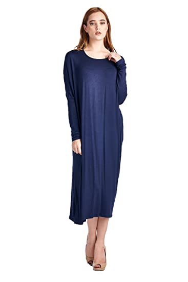 82 Days Women'S Rayon Span Long Sleeves Butterfly Fit Jersey Dress - Navy M