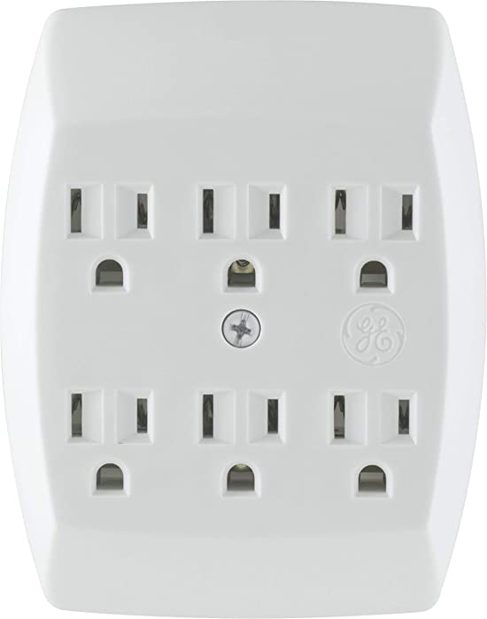 GE 54947 6 Grounded Adapter Wall Tap 3 Prong Outlets, Secure Install, UL Listed, White