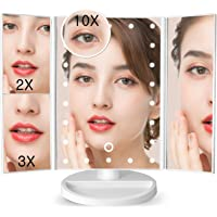 soafiya 化粧鏡 化粧ミラー 鏡 三面鏡 女優ミラー 卓上 led付き 折りたたみ 拡大鏡 2&3倍 明るさ調節可能 180°