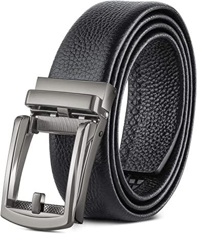 Men/'s Belt Genuine Leather Ratchet Belts with Automatic Buckle Sliding Wasitband