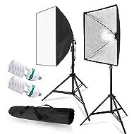 LimoStudio 700W Photo Video Studio Soft Box Lighting Kit, 24 x 24 Inch Dimension Softbox Light Reflector with Photo Bulb, Photography Studio, AGG814