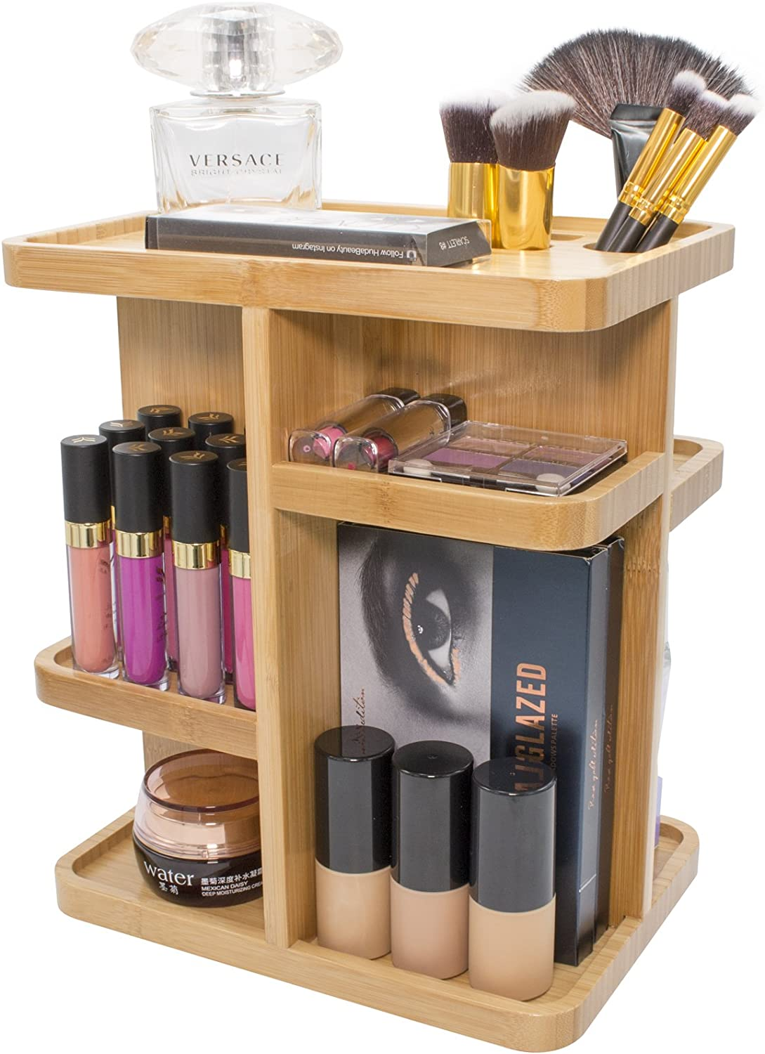 Sorbus 47° Bamboo Cosmetic Organizer, Multi-Function Storage Carousel for  Makeup, Toiletries, and More — Great for Vanity, Desk, Bathroom, Bedroom,