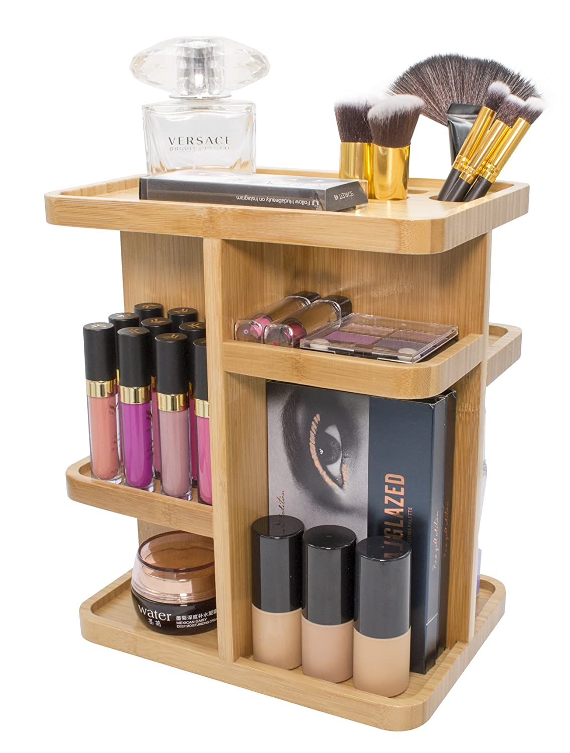 Sorbus 360° Bamboo Cosmetic Organizer, Multi-Function Storage Carousel for Makeup, Toiletries, and More — for Vanity, Desk, Bathroom, Bedroom, Closet, Kitchen
