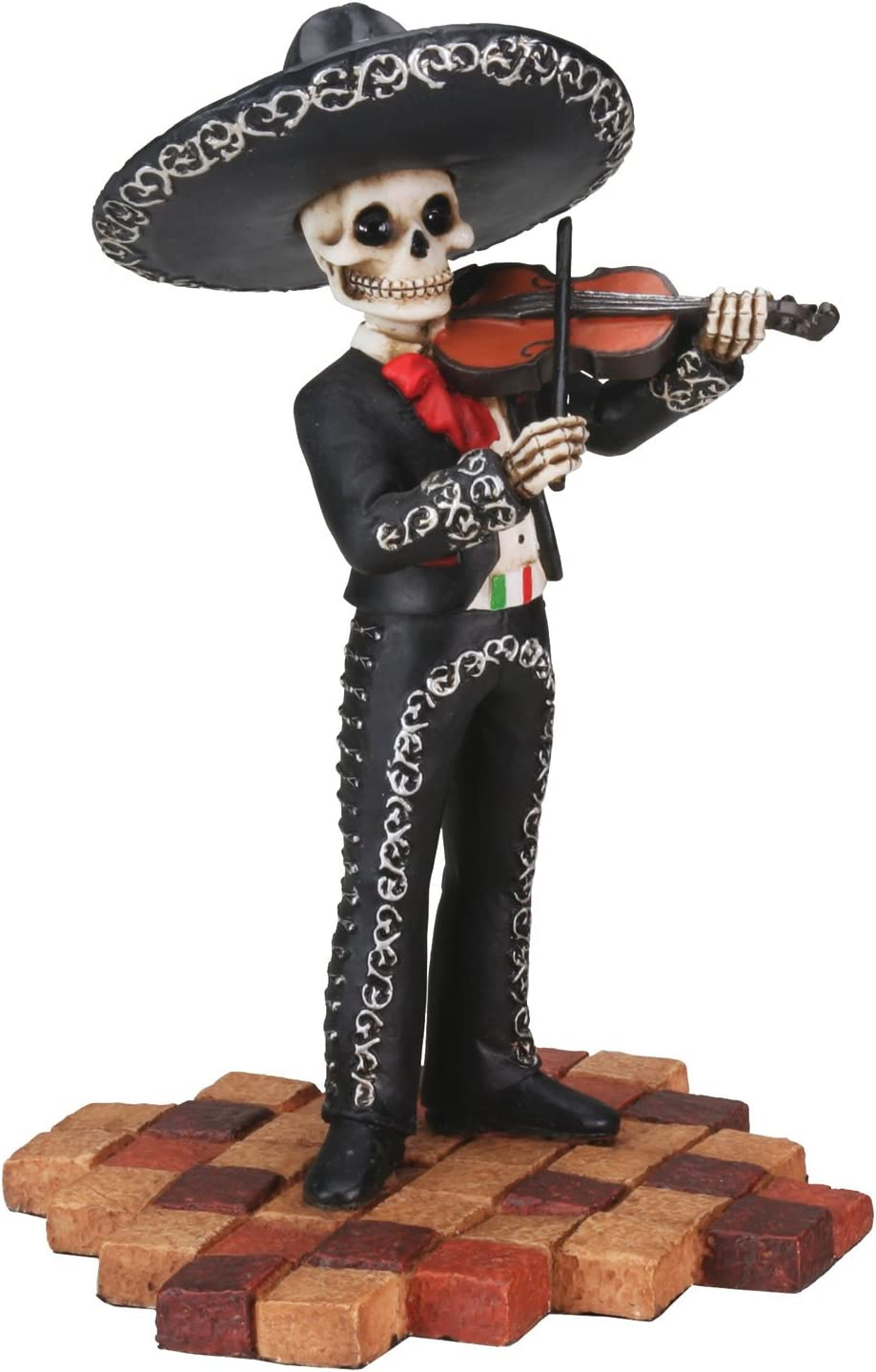 Male Skeleton Skull Black Mariachi Band Violin Statue