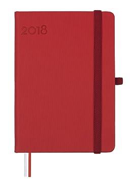 Finocam Textura - Agenda 2018, día página, catalán, 120 x 170 mm, 80 g/m², color rojo