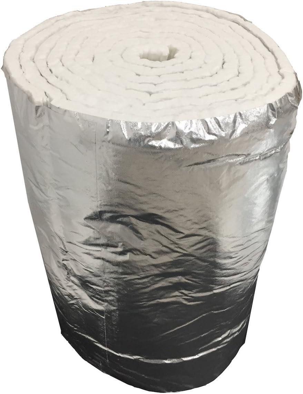 Aislante de fibra cerámica eco + aluminio, rollo de 7,30 m x 61 cm ...