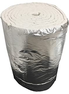 Aislante de fibra cerámica eco + aluminio, rollo de 7,30 m x 61 cm