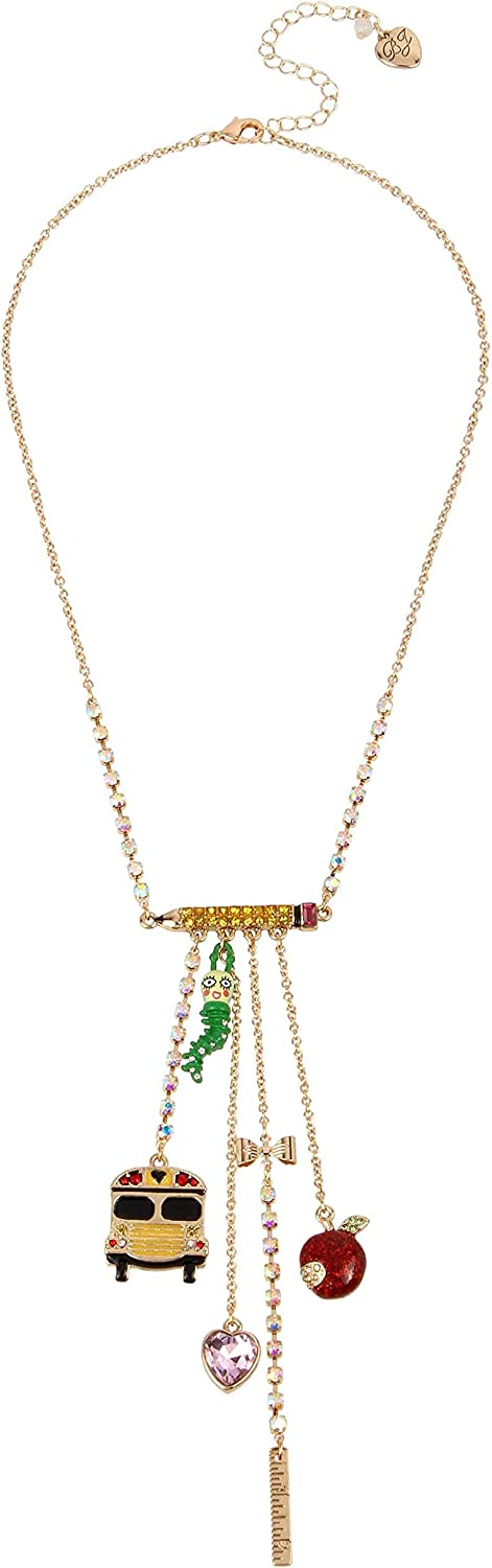 Betsey Johnson Back to School Mixed Charm Y Necklace, Multi (326304GLD966)