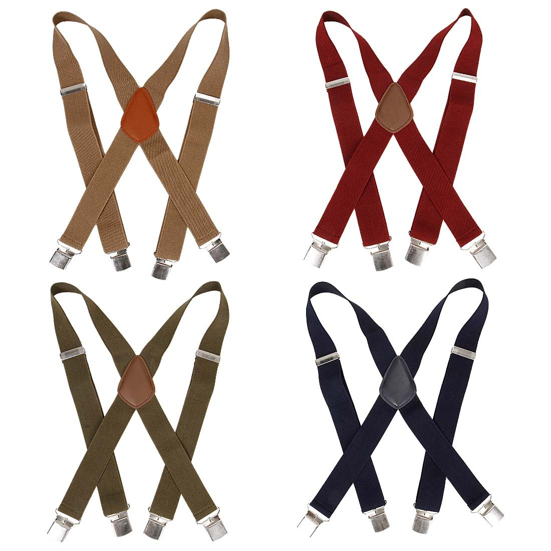 Bundle Monster 4pc Solid Colored Design X-Back Adjustable Clip Unisex Suspender