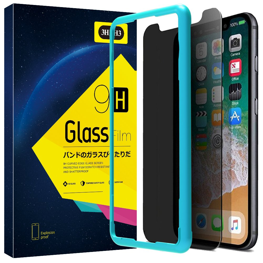 iPhone X Privacy Screen Protector,iPhone X Screen Protector Tempered Glass [Anti-Spy] [Privacy Glass] [Case Friendly] [Free - Lifetime Replacement Warranty] [No Lifted Edges] For iPhone X