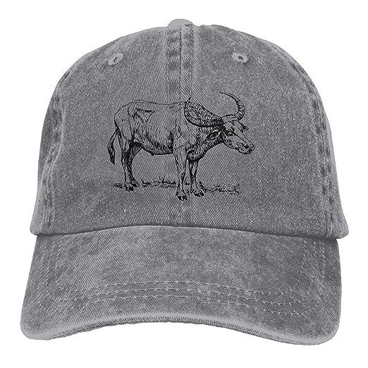 Amidifgy Water Buffalo Printing Adjustable Baseball Cap Hats
