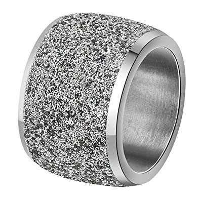 Amazon Com Inreng Women S Stainless Steel Ring Shiny Sequins Pave